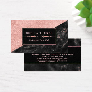 Rose Gold Marble Makeup Artist Hair Stylist Business Card