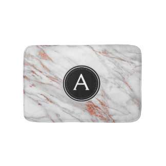 Rose Gold Marble Monogram Bath Mat