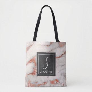 Rose Gold Marble Monogram Book Bag