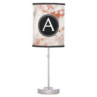 Rose Gold Marble Monogram Lamp