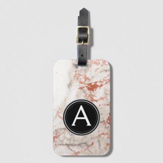 Rose Gold Marble Monogram Luggage Bag Tag