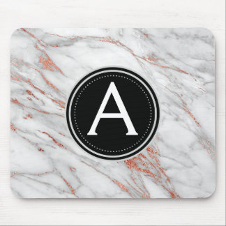 Rose Gold Marble Monogrammed Modern Mouse Pad