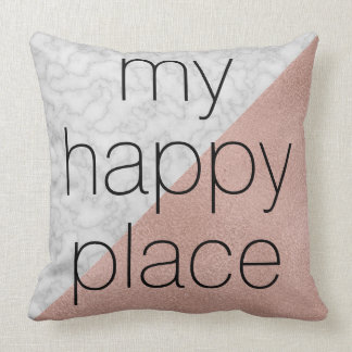 Rose Gold & Marble 'My Happy Place' Throw Pillow