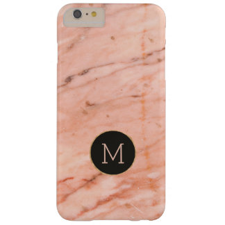 Rose-gold marble print monogram barely there iPhone 6 plus case