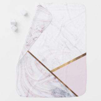 Rose Gold Marble Swirl & Blush Pink Bronze Glam Baby Blanket