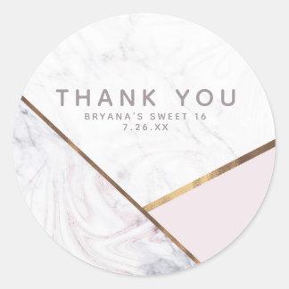 Rose Gold Marble Swirl & Blush Pink Bronze Glam Classic Round Sticker