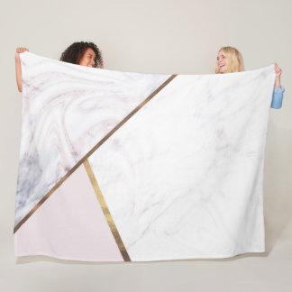 Rose Gold Marble Swirl & Blush Pink Bronze Glam Fleece Blanket