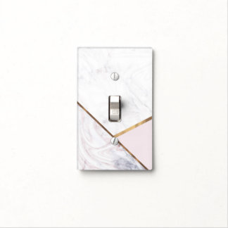 Rose Gold Marble Swirl & Blush Pink Bronze Glam Light Switch Cover