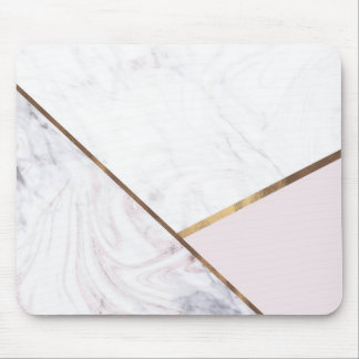 Rose Gold Marble Swirl & Blush Pink Bronze Glam Mouse Pad