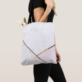 Rose Gold Marble Swirl & Blush Pink Bronze Glam Tote Bag