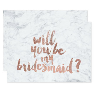 """Rose gold marble Will you be my Bridesmaid 3.5"""" X 5"""" Invitation Card"""