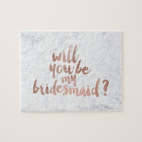 Rose gold marble Will you be my Bridesmaid Jigsaw Puzzle