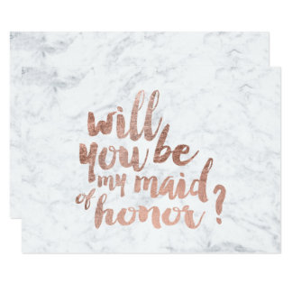 """Rose gold marble Will you be my maid of honor 3.5"""" X 5"""" Invitation Card"""