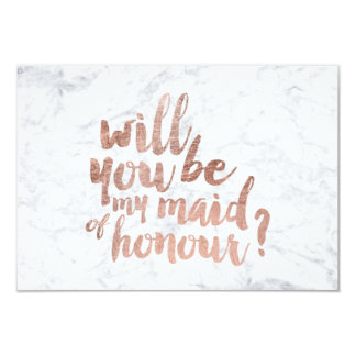"""Rose gold marble Will you be my maid of honour 3.5"""" X 5"""" Invitation Card"""