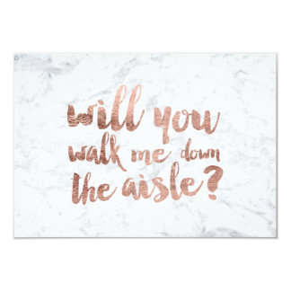 """Rose gold marble will you walk me down the aisle 3.5"""" x 5"""" invitation card"""