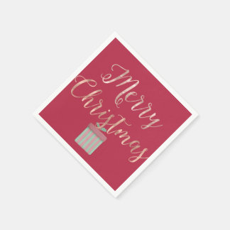 Rose Gold Merry Christmas Paper Napkin