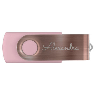 Rose Gold Metal Monogram USB Thumb Drive