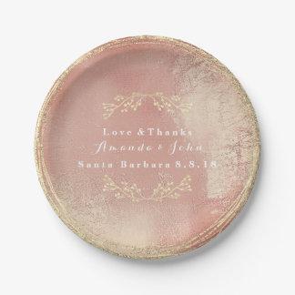 Rose Gold Metallic  Floral Wreath Wedding Glitter Paper Plate