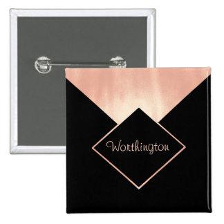 Rose Gold Metallic Professional  Feminine Modern 2 Inch Square Button