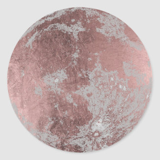 Rose Gold Modern Full Moon Classic Round Sticker