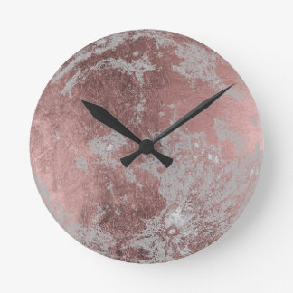 Rose Gold Modern Full Moon Round Clock