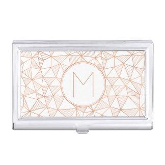 Rose Gold Modern Geometric Pattern Monogram Business Card Holder