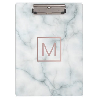 rose gold monogram  on white marble stone clipboard