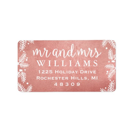 Rose Gold Mr and Mrs | Holiday Address Labels