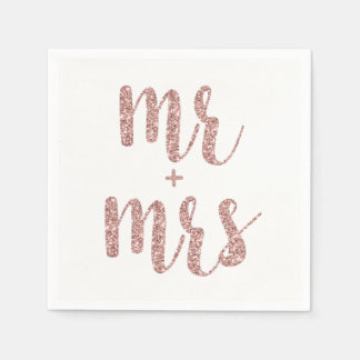 Rose gold Mr. & Mrs. cocktail napkins, glitter Paper Napkin