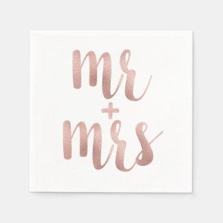 Rose gold Mr. & Mrs. cocktail napkins Paper Napkins