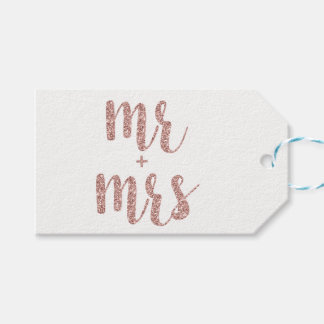 Rose gold Mr. & Mrs. favor tags, glitter, horiz. Gift Tags