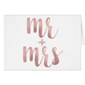 Rose gold Mr. & Mrs. greeting cards
