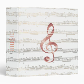 rose gold music treble clef on golden notes 3 ring binder