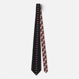 Rose Gold Navy Blue Tie Geometric Brick Pattern