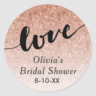 Rose Gold Omber Glitter Love Favor Tag