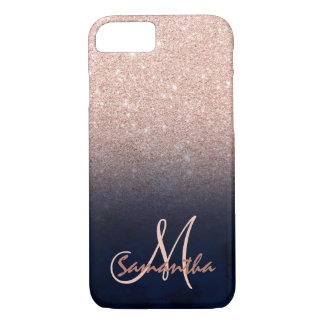 Rose gold ombre blue watercolor block monogram Case-Mate iPhone case