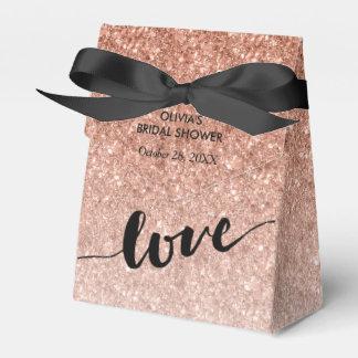 Rose Gold Ombre Glitter Love Favor Box