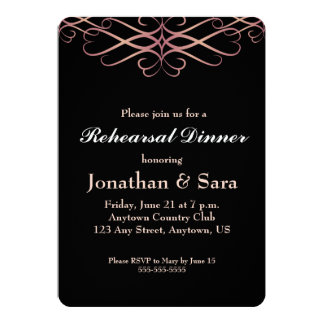 Rose Gold on Black, Elegant Rehearsal Dinner Card