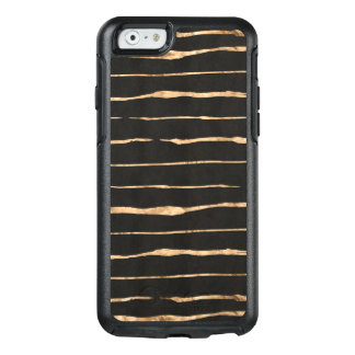 Rose-Gold On Black Modern Stripes OtterBox iPhone 6/6s Case
