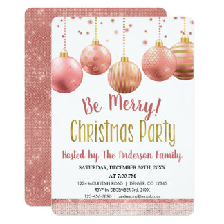 Rose Gold Ornament Christmas Holiday Dinner Party Card