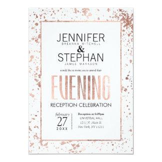 Rose Gold Paint Splatters Evening Reception Invite