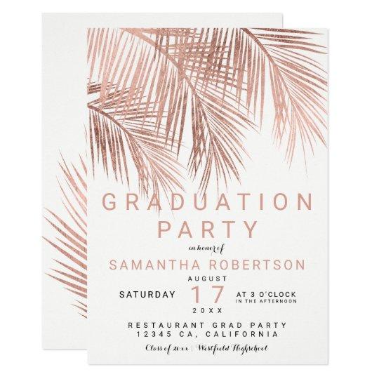 Rose gold palm tree elegant graduation party card