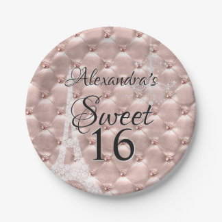 Rose Gold Paris Sweet Sixteen Birthday Party Paper Plate