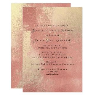 Rose Gold Peach Blush Ombre Glass Metallic Beach Card