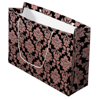 Rose Gold & Peach glitter and black floral damask Large Gift Bag