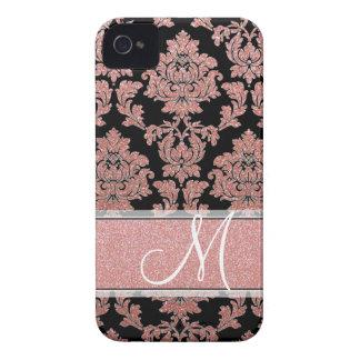 Rose Gold & Peach glitter & black damask, Monogram Case-Mate iPhone 4 Case