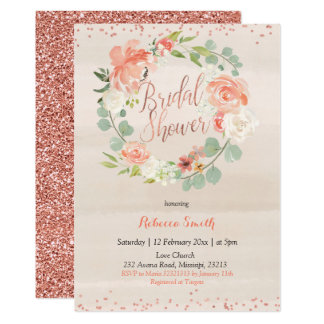 Rose Gold peach peony Bridal Shower Invitation
