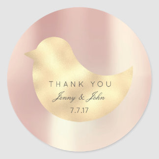 Rose Gold Pearly Silk Foxier Bird  Thank you Classic Round Sticker