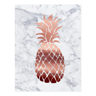 rose gold pineapple on marble postcard