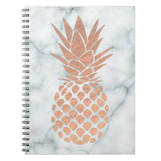 rose gold pineapple on marble spiral notebook